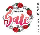 summer sale card template. hand ... | Shutterstock .eps vector #1401886151