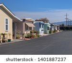 View Of Row Of Mobile Homes In...