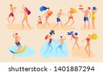 people at beach or seashore... | Shutterstock .eps vector #1401887294