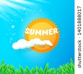 vector summer label with sun... | Shutterstock .eps vector #1401888017