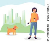 Stock vector a girl with purple hair in an orange t shirt and blue jeans is holding a dog on a leash background 1401890534