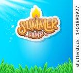 vector summer kids camp cartoon ... | Shutterstock .eps vector #1401890927