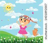 little cute girl and dog run on ... | Shutterstock .eps vector #1401892007