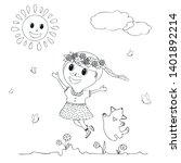 little cute girl and dog run on ... | Shutterstock .eps vector #1401892214