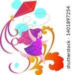 girl running holding a kite ... | Shutterstock .eps vector #1401897254