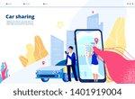 carsharing landing. carpooling... | Shutterstock .eps vector #1401919004