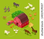 isometric farm vector concept.... | Shutterstock .eps vector #1401919037