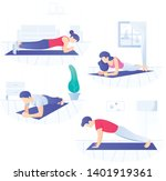 young people doing plank core... | Shutterstock .eps vector #1401919361