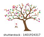 colorful tree vector with birds ... | Shutterstock .eps vector #1401924317