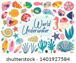set of isolated underwater... | Shutterstock .eps vector #1401927584