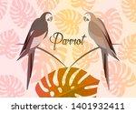 pair of parrots  tropical... | Shutterstock .eps vector #1401932411