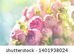 pink roses bouquet  blooming... | Shutterstock . vector #1401938024