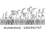 silhouette flowers and grass ... | Shutterstock .eps vector #1401941747