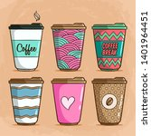 coffee cup collection with... | Shutterstock .eps vector #1401964451