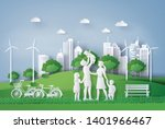 concept of eco with happy... | Shutterstock .eps vector #1401966467