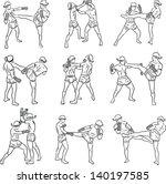hand drawn thai martial arts... | Shutterstock .eps vector #140197585