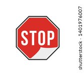 red stop label isolated on...   Shutterstock .eps vector #1401976007