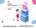 financial  withdrawal cash.... | Shutterstock .eps vector #1401982127