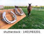 Horseshoes Mounted On A Wooden...