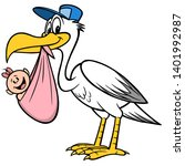 Stork Delivering A Baby Girl  ...