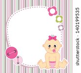 Baby Girl Card. Space For Phot...