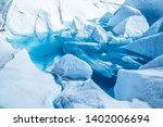 Blue Glacier Lake Of Melting...