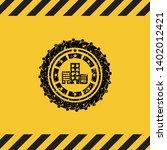 buildings icon inside warning...   Shutterstock .eps vector #1402012421