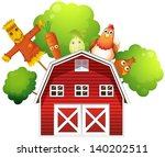 Illustration Of A Barn With A...