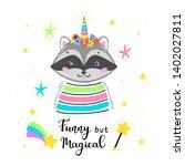 raccoonicorn. magic cute... | Shutterstock .eps vector #1402027811
