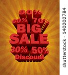 3d big sale text and percent... | Shutterstock .eps vector #140202784