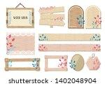 wood grained sign frame set   Shutterstock .eps vector #1402048904