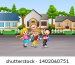 cartoon of a children going to... | Shutterstock . vector #1402060751