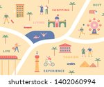 tourism map concept. landmark... | Shutterstock .eps vector #1402060994