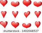 red glossy heart icon vector... | Shutterstock .eps vector #1402068527