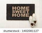 home sweet home door mat at... | Shutterstock . vector #1402081127