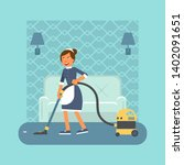 housekeeper with hoover flat... | Shutterstock .eps vector #1402091651