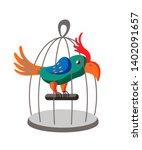 parrot in cage flat vector... | Shutterstock .eps vector #1402091657