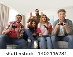 emotional friends playing video ... | Shutterstock . vector #1402116281