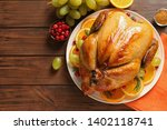 platter of cooked turkey with... | Shutterstock . vector #1402118741