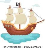 wooden boat pirate buccaneer... | Shutterstock .eps vector #1402129601