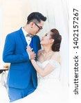 amazing smiling wedding couple. ... | Shutterstock . vector #1402157267
