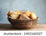 Basket With Fresh Bread On...