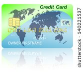 green credit card with shadow... | Shutterstock . vector #140221537