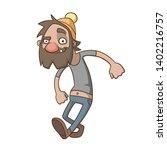 a homeless man walks merrily.... | Shutterstock .eps vector #1402216757