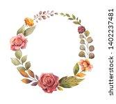 watercolor autumn wreath with... | Shutterstock . vector #1402237481