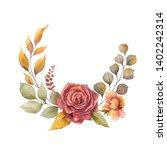 watercolor autumn wreath with... | Shutterstock . vector #1402242314