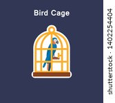 bird cage flat icon sticker in... | Shutterstock .eps vector #1402254404