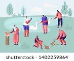 people spending time in animal... | Shutterstock .eps vector #1402259864