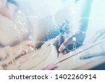 dna theme hologram over woman's ... | Shutterstock . vector #1402260914