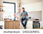 adult hipster son and senior... | Shutterstock . vector #1402269851